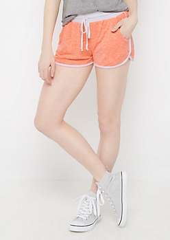 Neon Coral Marled Dolphin Short