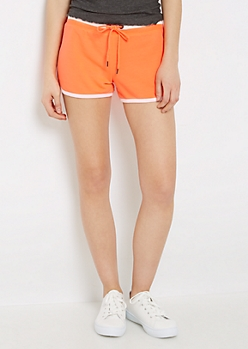 Neon Orange Athletic Striped Dolphin Short