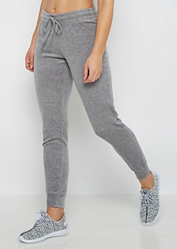 Gray Heathered Velour Jogger