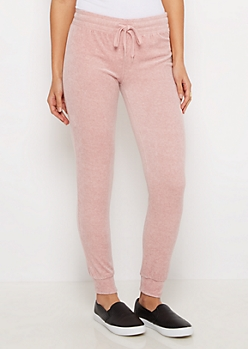 Pink Heathered Velour Jogger
