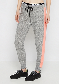 Bossy Marled Coral Striped Jogger