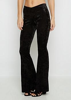 Black Velvet Flare Pants