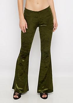 Olive Velvet Flare Pants