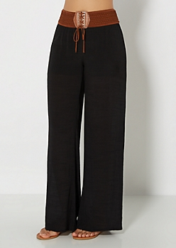 Black Smocked Gauze Pant