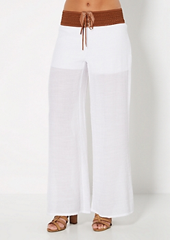White Smocked Gauze Pant