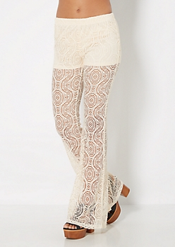Cream Swirling Crochet Flare Pant