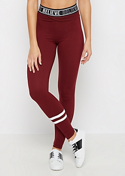 Burgundy Good Vibes Varsity Sweatpant