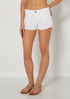 Destroyed Crochet Trim Short