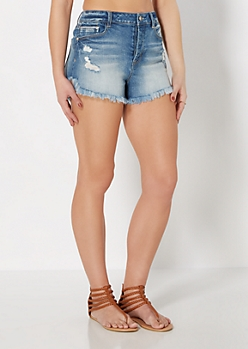Destroyed Denim High Waist Short