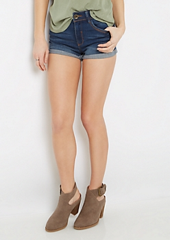 Sandblasted High Waist Jean Shortie