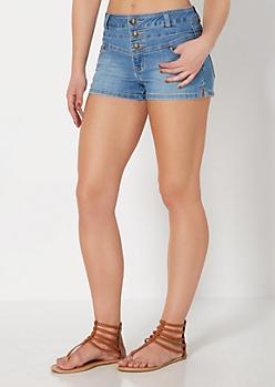Medium Blue High Waist Jean Short