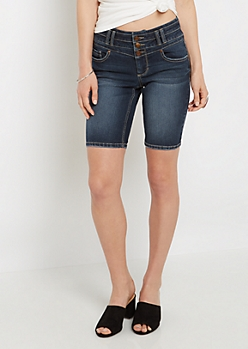 Sandblasted High Waist Bermuda Jean Short