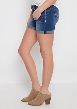 Better Butt Frayed Cuff Jean Midi Short