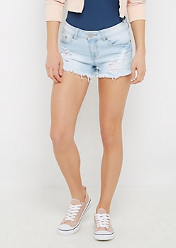 Distressed High Waist Jean Midi Short