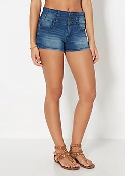 Sandblasted High Waist Stacked Jean Short