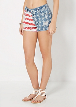 Destroyed Americana High Waist Jean Short
