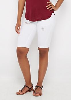 White Ripped Twill Bermuda Short