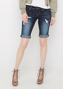 Sandblasted & Destroyed Bermuda Jean Short