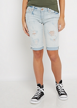 Light Distressed Jean Bermuda Short