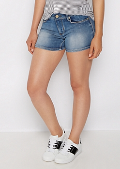 Medium Blue Mid Rise Midi Jean Short