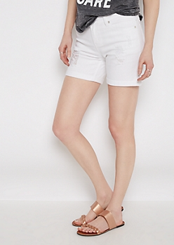 White Distressed Bermuda Jean Short