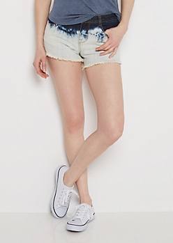 Ombre Washed & Frayed Jean Shortie