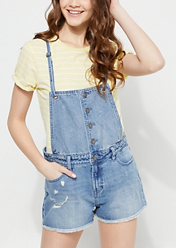 Medium Wash Cross Back Strap Distressed Shortalls