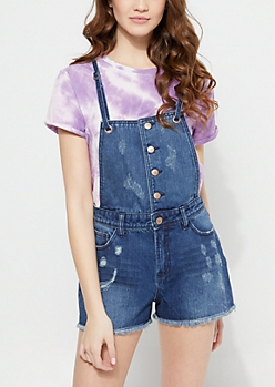 Dark Wash Cross Back Strap Distressed Shortalls