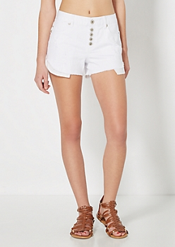 White Sequin Pocket Distressed High Waist Short