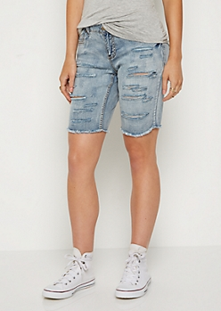 Ripped & Washed Bermuda Jean Short in Curvy
