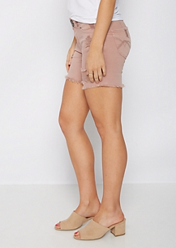 Pink Distressed Better Butt Midi Short
