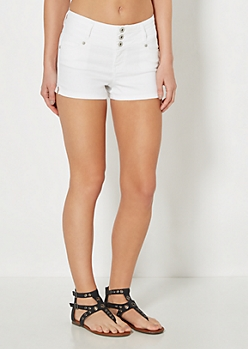 White 3-Shank High Waist Short