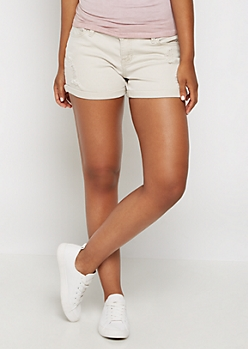 Oatmeal Heather Distressed Twill Shortie