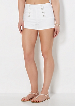 White Twill Sailor High Waisted Short