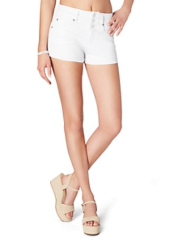 White 3-Shank Faux Leather Short