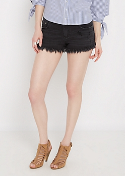 Black Distressed & Frayed Twill Short