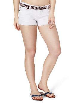Belted Distressed Jean Short