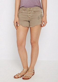 Taupe Distressed High Waist Twill Midi Short