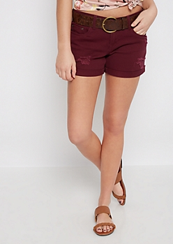 Burgundy Belted & Ripped Twill Short