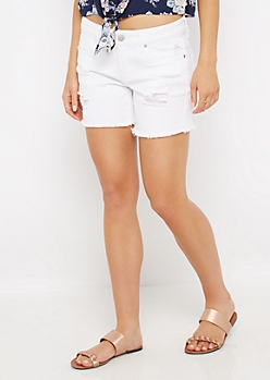 White Frayed Midi Short