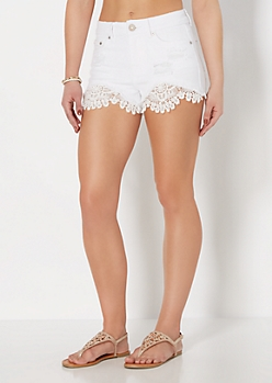 Distressed Crochet High Waist Short