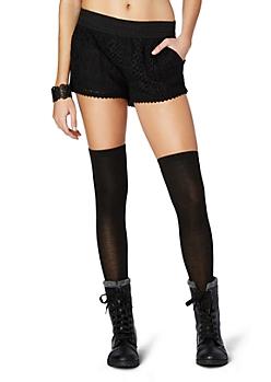 Black Crochet Trimed Lace Short