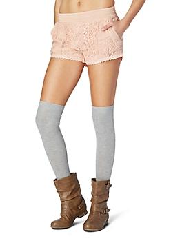 Peach Crochet Trimed Lace Short