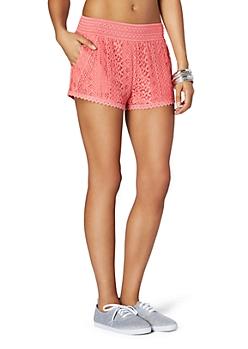 Coral Crochet Trimed Lace Short