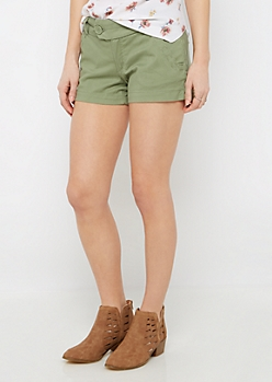 Olive Wide Stitched Shortie Short