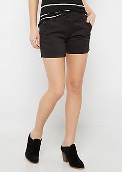 Black Wide Stitched Midi Short