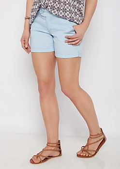 Light Blue Wide Stitched Midi Short