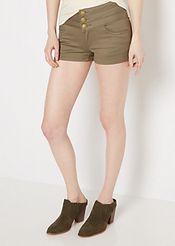 Olive Stacked High Waist Twill Shortie