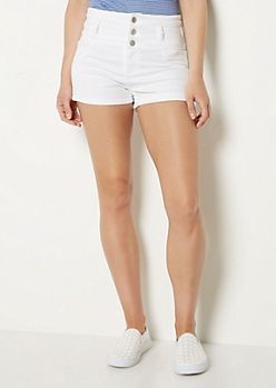 White Stretch High Waist Shortie