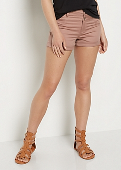 Dusty Pink Stretch High Waist Shortie